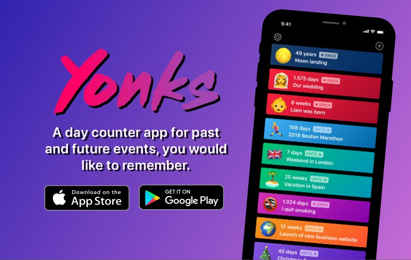 Yonks, day counter app for iOS & Android