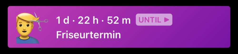 Friseurtermin-Countdown in Yonks